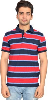 Urban Trail Striped Men's Polo Neck Dark Blue T-Shirt