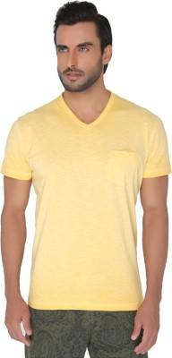 Jadeblue Solid Men's V-neck Yellow T-Shirt