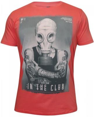 Hefty Graphic Print Men's Round Neck Red T-Shirt