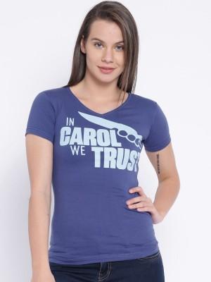 Le Bison Solid Women's V-neck Blue T-Shirt