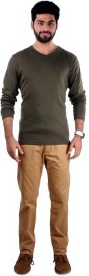 Indian Terrain Solid Men's Round Neck Green T-Shirt
