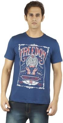 Soulrebel Graphic Print Men's Round Neck Dark Blue T-Shirt