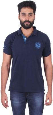 urbantouch Solid Men's Polo Neck Blue T-Shirt
