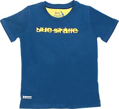 Blue Giraffe Printed Boy's Round Neck Blue T-Shirt