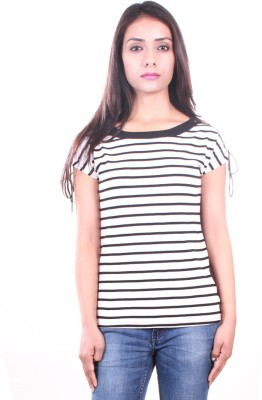 AR2 Striped Women's Round Neck White T-Shirt