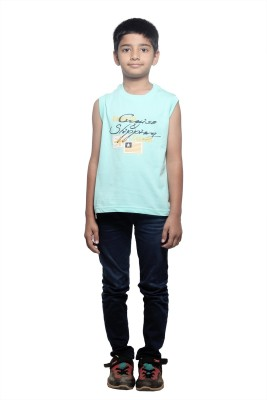 Stop by Shoppers Stop Printed Boy,s Round Neck Light Blue T-Shirt