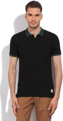 United Colors of Benetton Solid Mens Polo Black T-Shirt