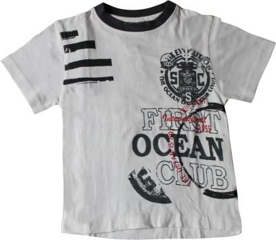 Mankoose Printed Boy's Round Neck White T-Shirt