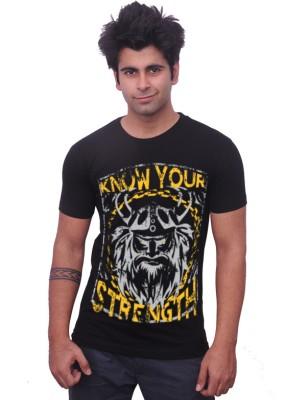 Unisopent Designs Printed Men's Round Neck Black T-Shirt