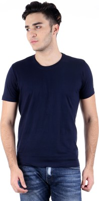 Perfect 10 Solid Men's Round Neck Blue T-Shirt