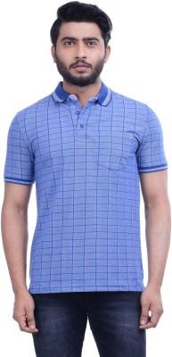 Hoffmen Self Design Men's Polo Neck Blue T-Shirt