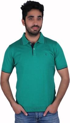 Kalt Solid Men's Polo Light Green T-Shirt