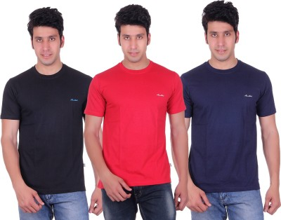 Montreal Solid Men,s Round Neck Black, Red, Blue T-Shirt