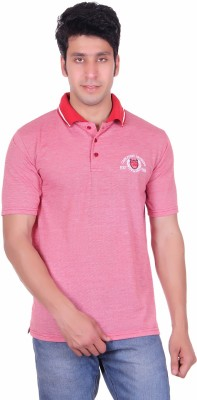 Deutz Solid Men's Polo Neck Pink T-Shirt