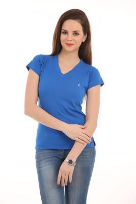 Ultrafit Solid Women's V-neck Blue T-Shirt