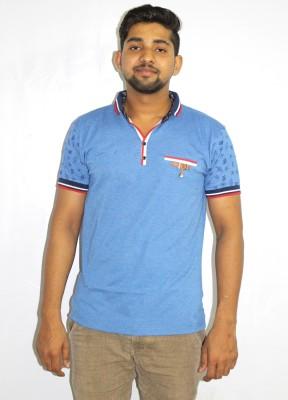 99DailyDeals Printed Men,s V-neck Blue T-Shirt