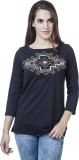 Rute Embroidered Women's Round Neck Blac...