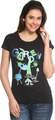 Maatra Printed Women,s Round Neck Black T-Shirt