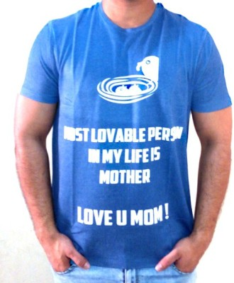 Myfizi Printed Men's Round Neck Blue T-Shirt