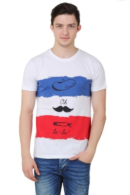 OMFG&CO Striped Men's Round Neck White, Blue T-Shirt