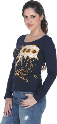 Fast n Fashion Graphic Print Women's Boat Neck Blue T-Shirt