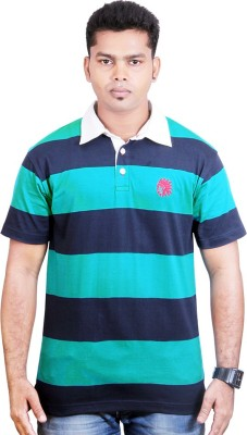 Poppini Striped Men's Polo Neck T-Shirt