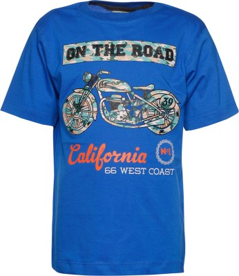 Joshua Tree Printed Boy's Round Neck Blue T-Shirt