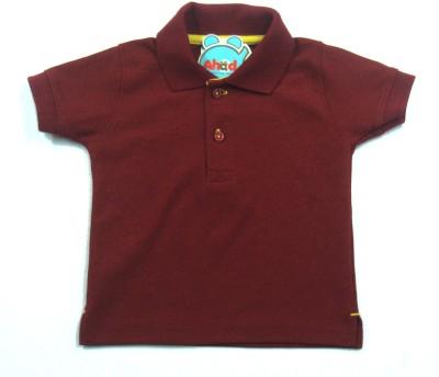 Ahad Solid Baby Boy's Polo Maroon T-Shirt