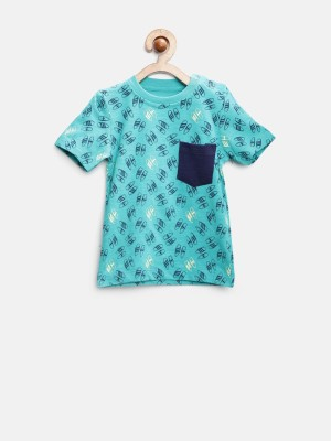 Yk Printed Boy's Round Neck Dark Green T-Shirt