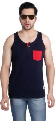 Nostrum Jeans Solid Men's Round Neck Dark Blue, Red T-Shirt