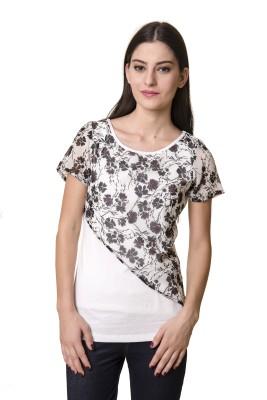 Rute Floral Print Women's Round Neck White, Black T-Shirt