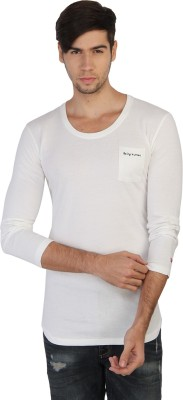 Being Human Solid Men's Round Neck White T-Shirt