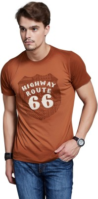Route 66 Printed Men's Round Neck Brown T-Shirt