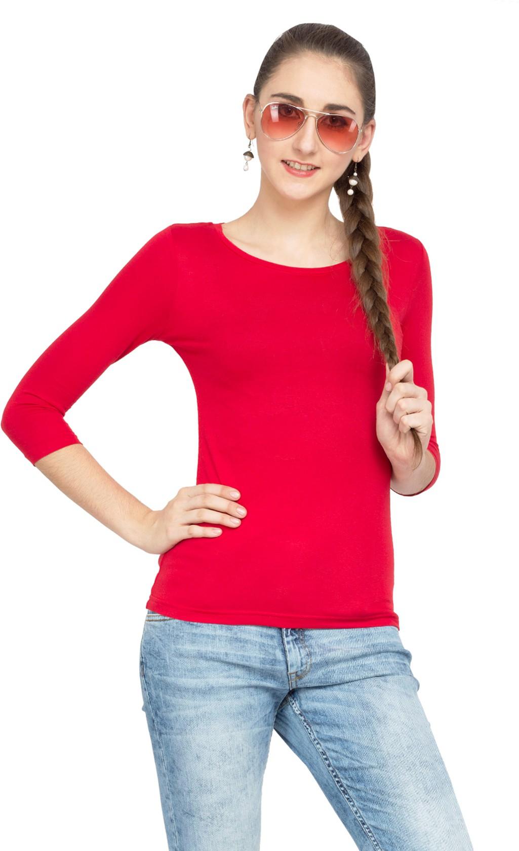 Alibi Solid Womens Round Neck T-Shirt