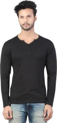 Afylish Solid Men's Henley Black T-Shirt