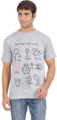 Griteez Printed Men's Round Neck Grey T-Shirt