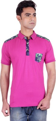 District London Solid Men's Polo Neck Pink T-Shirt