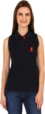 Run of luck Solid Women's Polo Neck Dark Blue T-Shirt