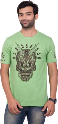 YOUTH & STYLE Printed Men's Round Neck Green T-Shirt