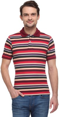 Global Nomad Striped Men's Polo Neck Brown, Green T-Shirt