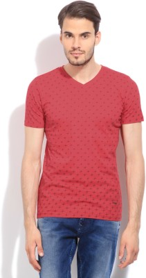 Killer Printed Men's V-neck Red T-Shirt