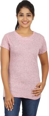 Humtees Casual Short Sleeve Harringbone Women's Pink Top
