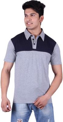 Vivid Bharti Solid Men's Polo Neck Dark Blue, Grey T-Shirt
