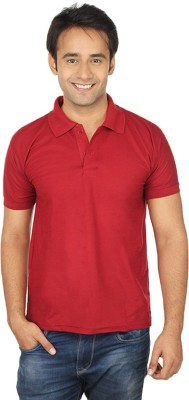 Quetzal Solid Men's Polo Neck Maroon T-Shirt