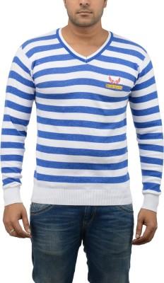 Blue Heaven Striped Men's V-neck Blue, White T-Shirt