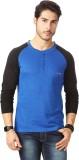 Rodid Solid Men's Henley Blue T-Shirt
