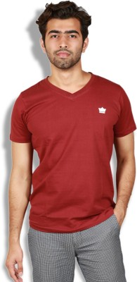 Goswhit Solid Men's V-neck Red, Maroon T-Shirt
