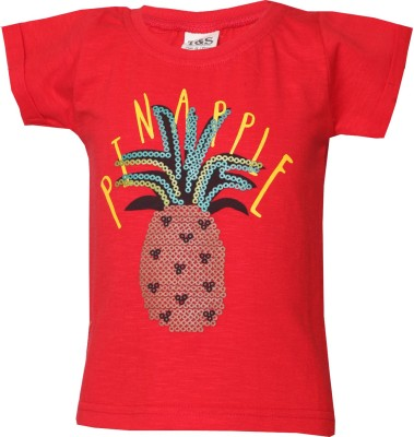 Tales & Stories Printed Baby Girl's Round Neck Red T-Shirt