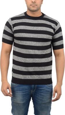 Blue Heaven Striped Men's Round Neck Black, Grey T-Shirt