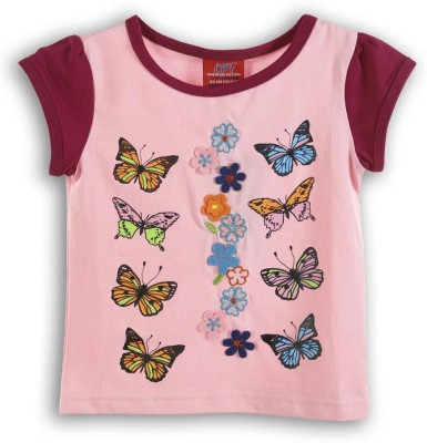 Lilliput Embroidered Girls Round Neck Pink T-Shirt